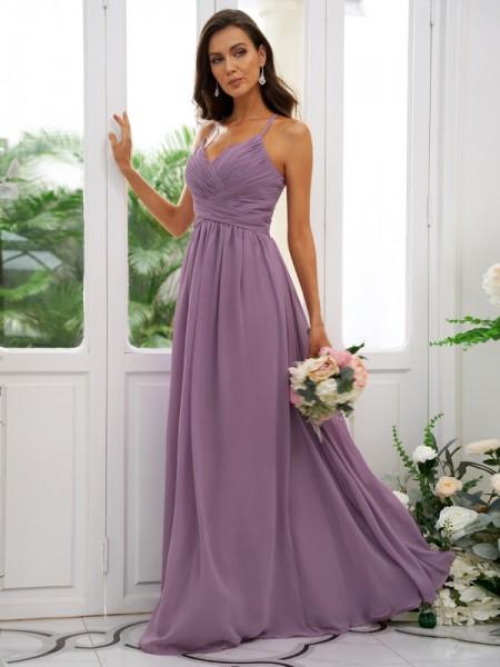 A-Line/Princess Chiffon Ruched V-neck Sleeveless Floor-Length Bridesmaid Dresses