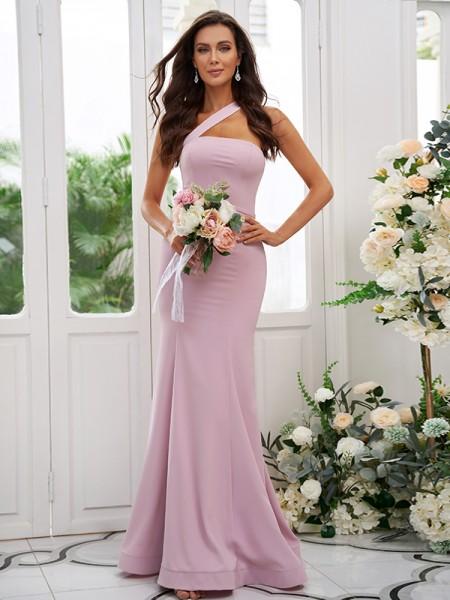 Sheath/Column Stretch Crepe Ruffles One-Shoulder Sleeveless Floor-Length Bridesmaid Dresses