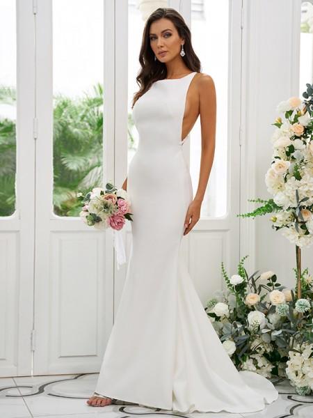 Sheath/Column Stretch Crepe Ruffles Square Sleeveless Sweep/Brush Train Bridesmaid Dresses