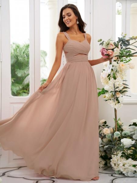 A-Line/Princess Chiffon Ruched Straps Sleeveless Floor-Length Bridesmaid Dresses