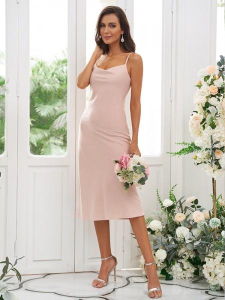 Sheath/Column Charmeuse Ruched Spaghetti Straps Sleeveless Tea-Length Bridesmaid Dresses