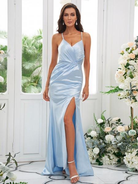 Sheath/Column Elastic Woven Satin Ruched Spaghetti Straps Sleeveless Sweep/Brush Train Bridesmaid Dresses