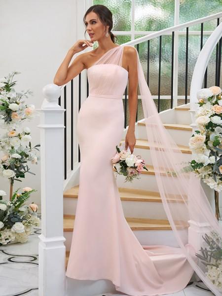 Sheath/Column Stretch Crepe Ruched One-Shoulder Sleeveless Sweep/Brush Train Bridesmaid Dresses