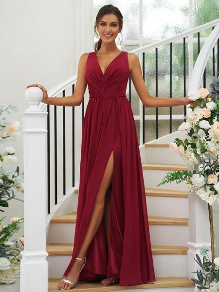 A-Line/Princess Chiffon Ruffles V-neck Sleeveless Floor-Length Bridesmaid Dresses