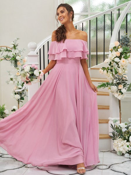 A-Line/Princess Chiffon Ruffles Off-the-Shoulder Sleeveless Floor-Length Bridesmaid Dresses
