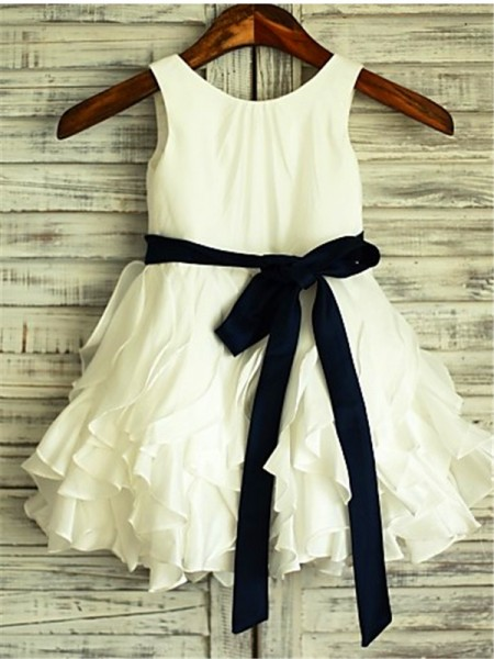 A-line/Princess Scoop Sleeveless Bowknot Tea-Length Chiffon Flower Girl Dresses