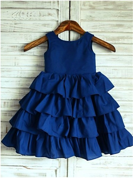 A-line/Princess Sleeveless Scoop Layers Tea-Length Chiffon Flower Girl Dresses