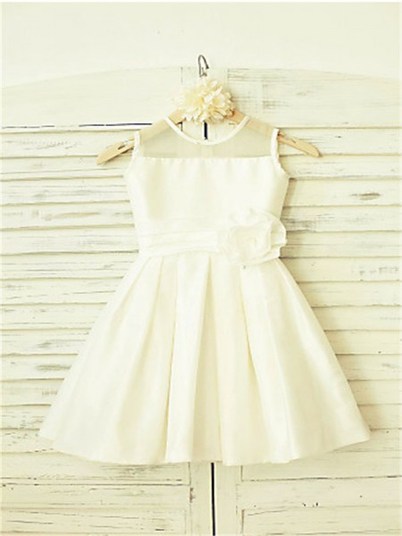 A-line/Princess Scoop Sleeveless Hand-made Flower Tea-Length Chiffon Flower Girl Dresses