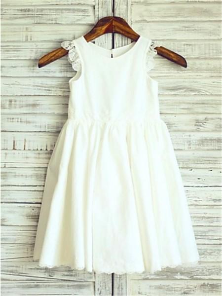 A-line/Princess Scoop Sleeveless Lace Tea-Length Chiffon Flower Girl Dresses