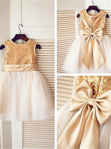 A-line/Princess Sleeveless Scoop Sequin Tea-Length Tulle Flower Girl Dresses