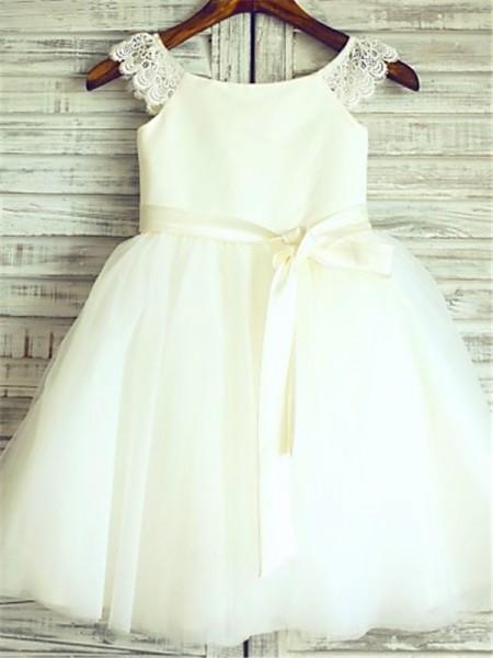 A-line/Princess Sleeveless Scoop Sash/Ribbon/Belt Tea-Length Tulle Flower Girl Dresses