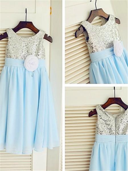 A-line/Princess Scoop Sleeveless Sequin Tea-Length Chiffon Flower Girl Dresses