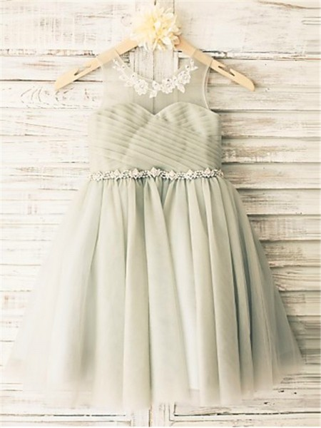 A-line/Princess Scoop Sleeveless Beading Tea-Length Tulle Flower Girl Dresses