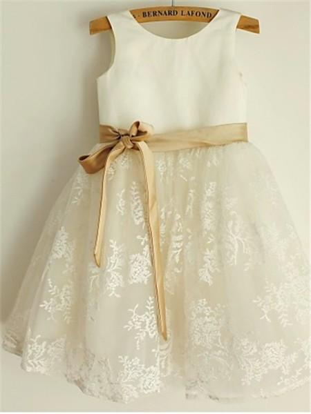 A-line/Princess Scoop Sleeveless Bowknot Tea-Length Lace Flower Girl Dresses