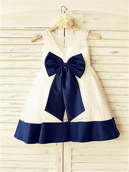 A-line/Princess Sleeveless Scoop Bowknot Floor-Length Lace Flower Girl Dresses