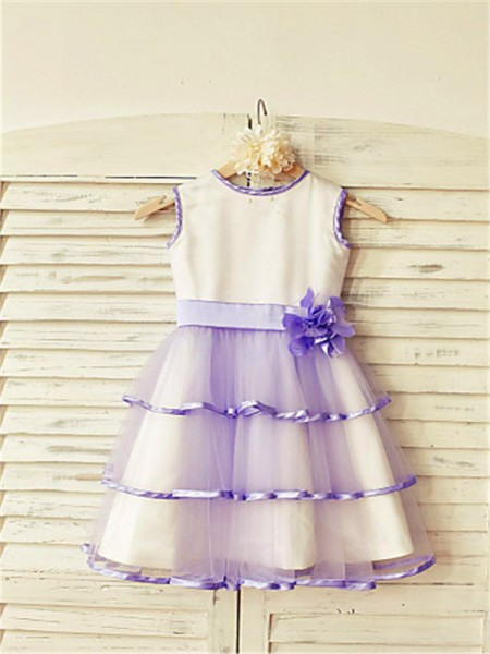 A-line/Princess Scoop Sleeveless Hand-made Flower Floor-Length Tulle Flower Girl Dresses