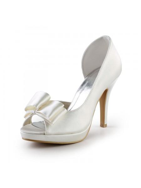 Women's Elegant Handmade Sweet Leather Butterfly Ivory Wedding High Heel Shoes