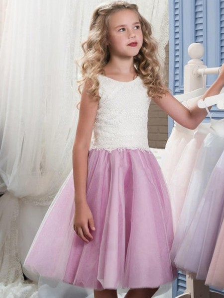 A-Line/Princess Sleeveless Scoop Knee-Length Lace Tulle Flower Girl Dresses