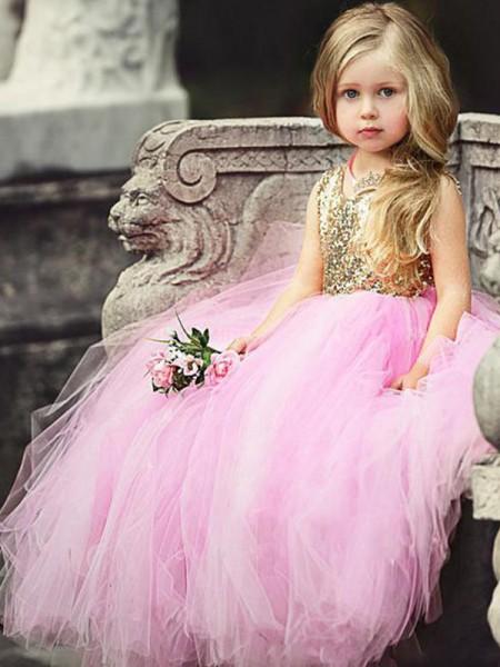 Ball Gown Sleeveless Scoop Floor-Length Sequin Tulle Flower Girl Dresses