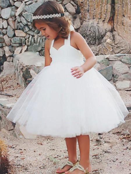 A-Line/Princess Sleeveless Halter Tea-Length Ruffles Tulle Flower Girl Dresses