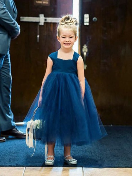 Ball Gown Sleeveless Square Tea-Length Ruffles Tulle Flower Girl Dresses