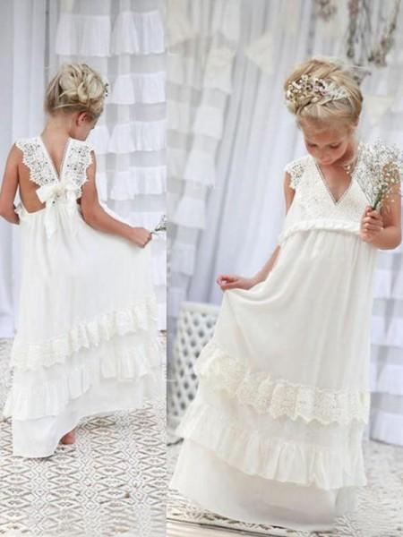 Empire Sleeveless V-neck Floor-Length Lace Chiffon Flower Girl Dresses
