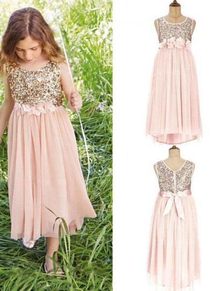 A-Line/Princess Sleeveless Scoop Asymetrical Sequin Chiffon Flower Girl Dresses
