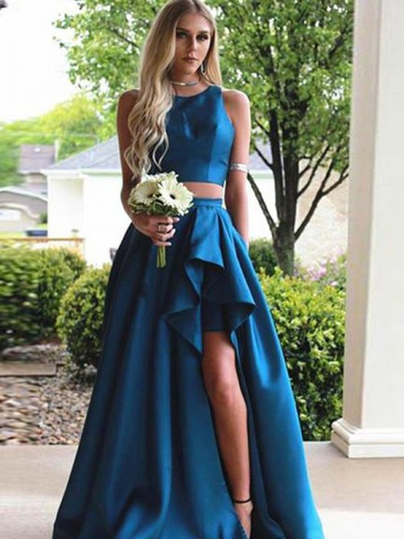 A-Line/Princess Sleeveless Scoop Sweep/Brush Train Ruffles Satin Two Piece Dresses