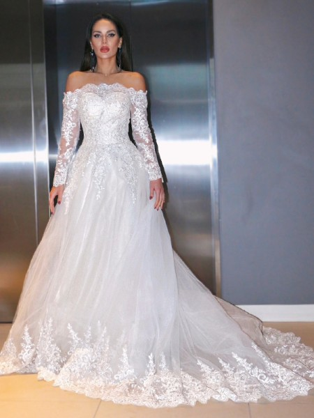 A-Line/Princess Lace Applique Off-the-Shoulder Long Sleeves Sweep/Brush Train Wedding Dresses