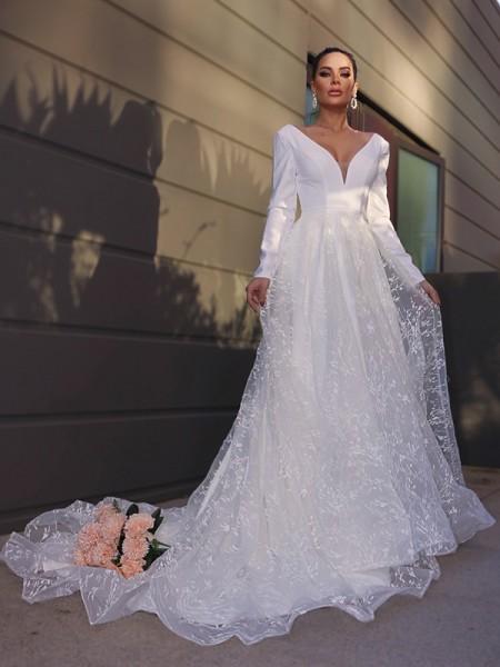 A-Line/Princess V-neck Long Sleeves Lace Applique Sweep/Brush Train Wedding Dresses