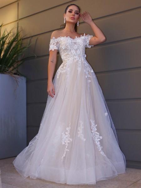 A-Line/Princess Tulle Off-the-Shoulder Short Sleeves Applique Floor-Length Wedding Dresses