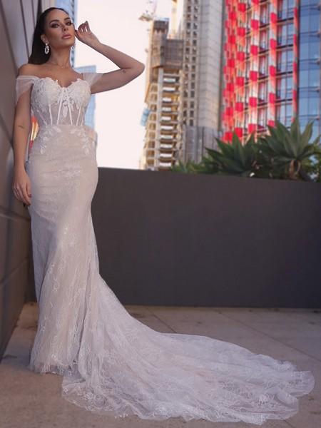 Sheath/Column Lace Sleeveless Off-the-Shoulder Applique Court Train Wedding Dresses