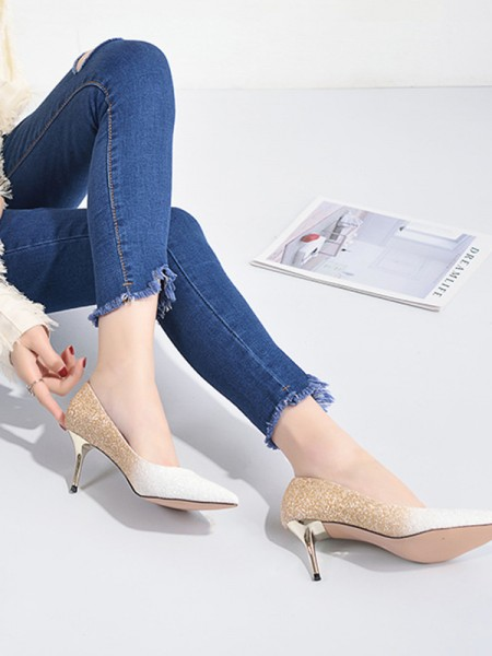 Women's Sequins Closed Toe Glitter With Sparkling Stiletto Heel High Heels