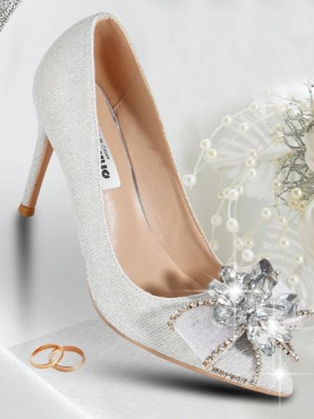Women's Net Closed Toe With Crystal Stiletto Heel High Heels