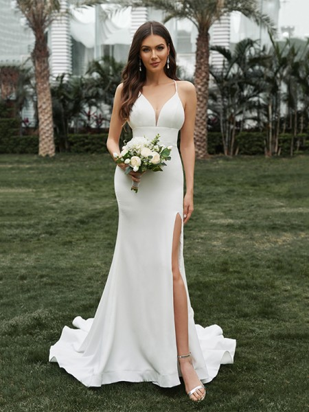 Sheath/Column Satin Ruffles Halter Sleeveless Sweep/Brush Train Wedding Dresses