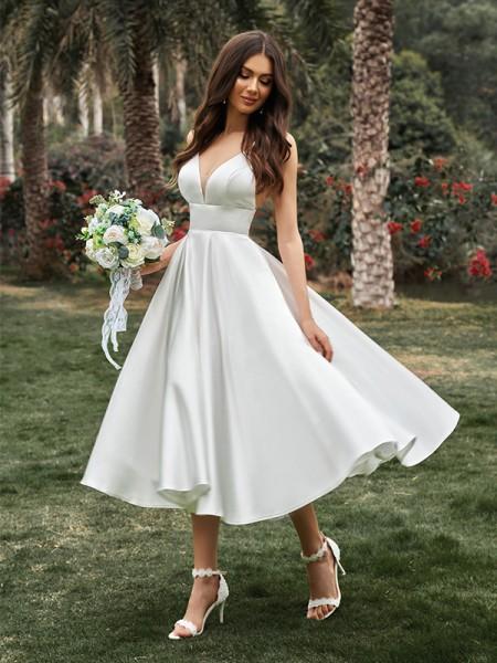 A-Line/Princess Ruffles V-neck Sleeveless Satin Tea-Length Wedding Dresses