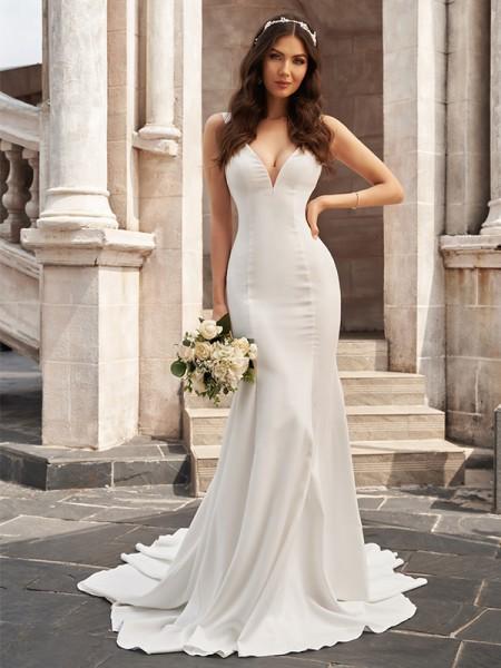 Trumpet/Mermaid Satin V-neck Ruffles Sleeveless Court Train Wedding Dresses