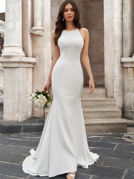 Trumpet/Mermaid Scoop Ruched Satin Sleeveless Sweep/Brush Train Wedding Dresses