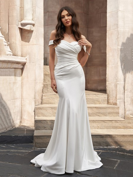 Trumpet/Mermaid Satin Off-the-Shoulder Ruched Sleeveless Sweep/Brush Train Wedding Dresses