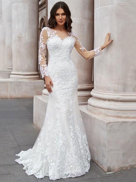 Trumpet/Mermaid Tulle Applique Scoop Long Sleeves Sweep/Brush Train Wedding Dresses