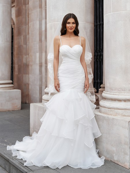 Trumpet/Mermaid Layers Spaghetti Straps Organza Sleeveless Sweep/Brush Train Wedding Dresses