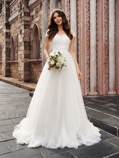 A-Line/Princess Applique Off-the-Shoulder Sleeveless Tulle Court Train Wedding Dresses