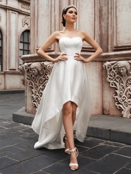 A-Line/Princess Sweetheart Satin Ruffles Sleeveless Asymmetrical Wedding Dresses