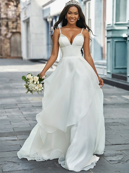 A-Line/Princess V-neck Organza Sleeveless Beading Sweep/Brush Train Wedding Dresses