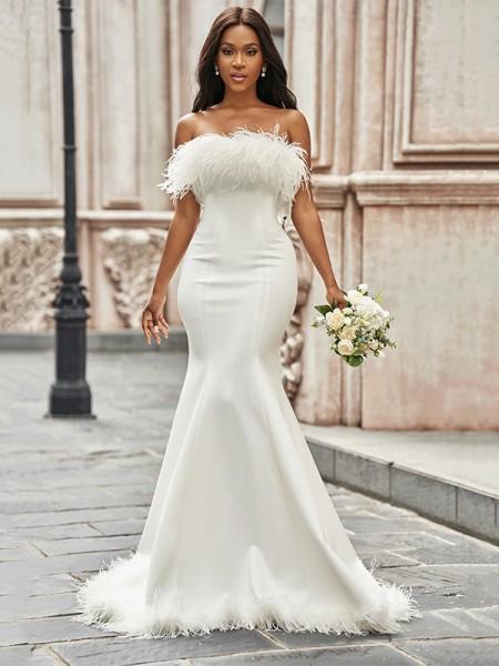 Trumpet/Mermaid Strapless Satin Feathers/Fur Sleeveless Sweep/Brush Train Wedding Dresses