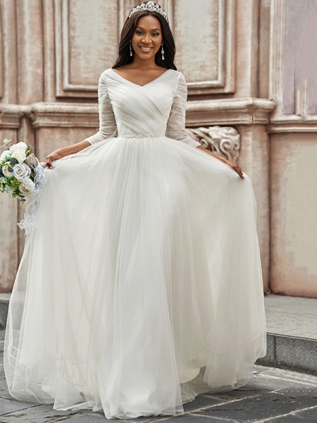 A-Line/Princess Ruched Sweetheart Tulle 3/4 Sleeves Sweep/Brush Train Wedding Dresses