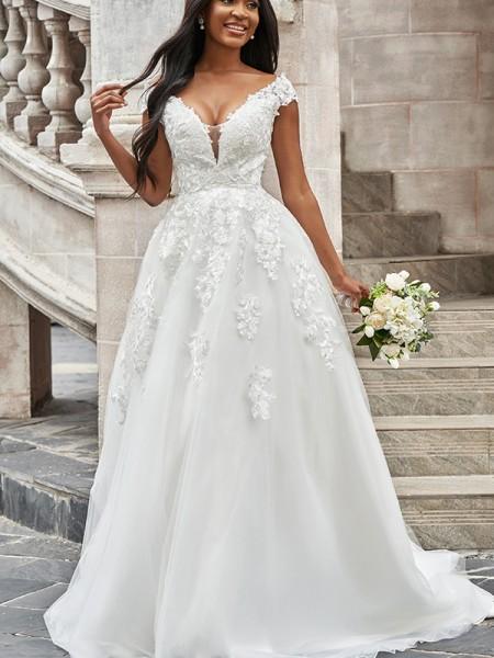 A-Line/Princess Tulle V-neck Applique Sleeveless Sweep/Brush Train Wedding Dresses