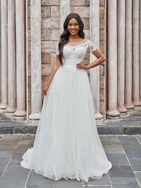 A-Line/Princess Scoop Tulle Applique Short Sleeves Sweep/Brush Train Wedding Dresses