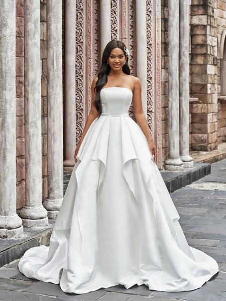 Ball Gown Satin Ruffles Strapless Sleeveless Court Train Wedding Dresses