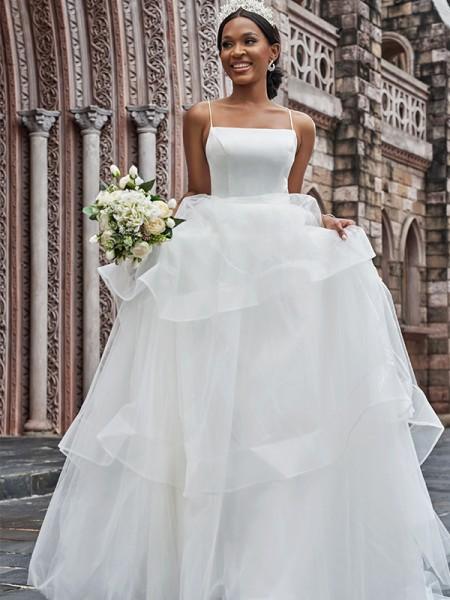 A-Line/Princess Tulle Spaghetti Straps Sleeveless Ruffles Sweep/Brush Train Wedding Dresses